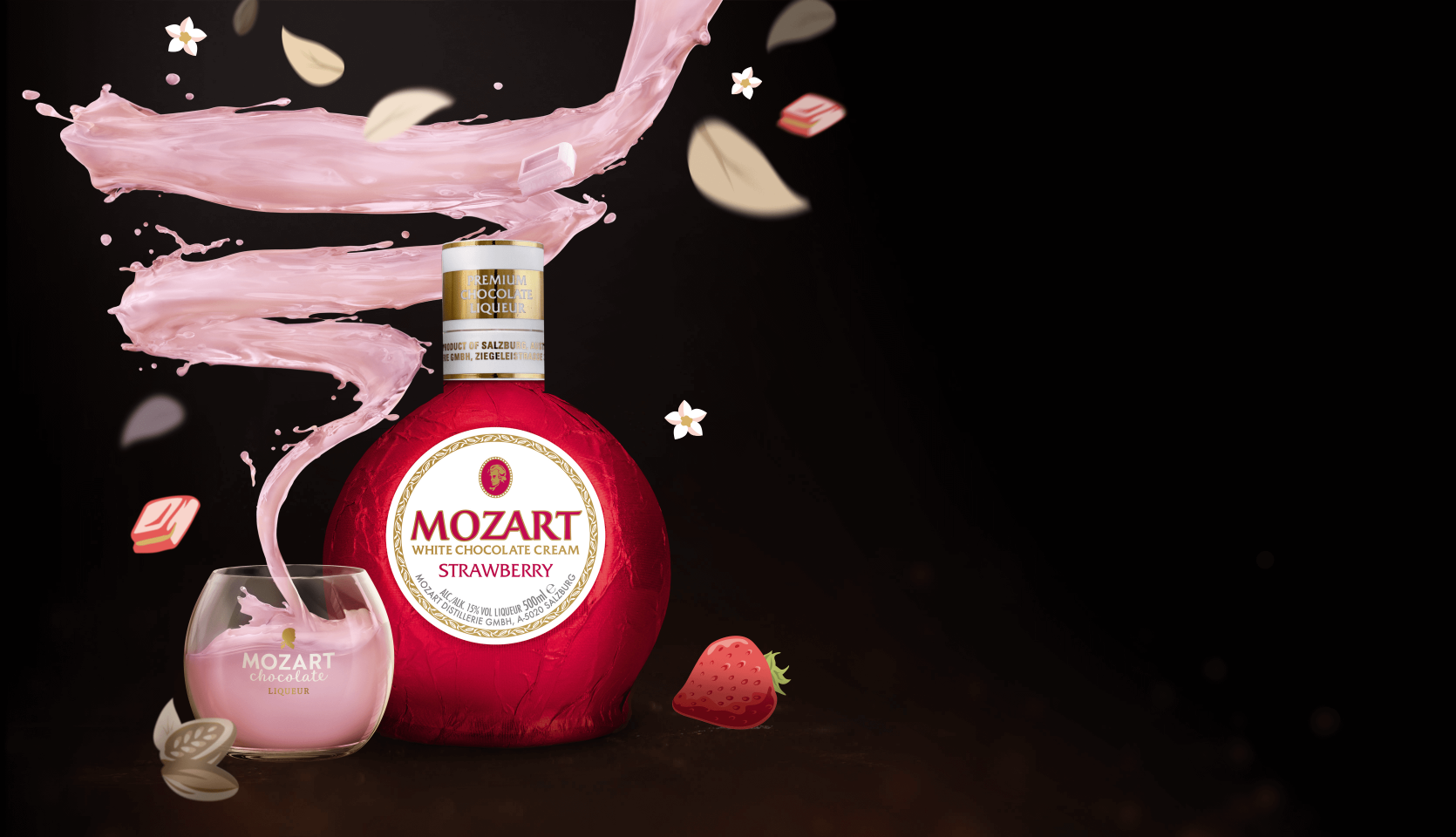 Mozart Chocolate Strawberry with chocolate swirl and Mozart glass